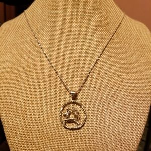 Sagittarius Sterling Silver Diamond Necklace